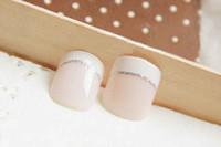 capas de luz de escritório venda por atacado-24 Pcs Beleza Luz Branca Curta Francês Unhas Postiças Cobertura Completa Europeu Simples Manicure Fria Oval faux ongle naturelle para o Escritório