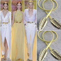 Wholesale Gold Metal Belts For Dresses - 2018 New Fashion Gold Metal Leaves Belts Zuhair Murad Waistband Sliver Color Wedding Prom Sashes Belt for Women Dresses