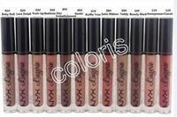 cores nu lingerie venda por atacado-NYX Lip Lingerie Matte Veludo Cor Nua Lip Gloss À Prova D 'Água de Longa Duração Líquido Lipgloss 12 Cores Com Nome Inglês (60 Pçs / lote)