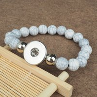 Wholesale Snake Chains Snap Clasp - 18MM White Turqoise Natual Stone Snaps elastic Beads Bracelet Crystal Snap Button Bracelet for Women Bangles DIY Snap Jewelry