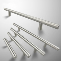 Wholesale wholesale stainless steel cabinets - 1pc Modern Satinless Steel T bar Kitchen Cabinet Door Handles Drawer Pulls Knobs Lot Furniture Accessories