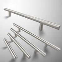 Wholesale steel cabinet drawers - 1pc Modern Satinless Steel T bar Kitchen Cabinet Door Handles Drawer Pulls Knobs Lot Furniture Accessories