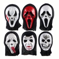 Wholesale Ghost Mask Toys - Halloween Costume Party Long Face Skull Ghost Scary Scream Mask Face Hood Scary Horror Terrible Mask with Hood Halloween Gifts Toy 0708017
