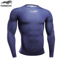 Wholesale Rash Shirt Long Sleeve - Wholesale- TUNSECHY Hot style Long Sleeve Skin Rash Guard Complete Graphic Compression Shirts Multi-use Fitness MMA Crossfit Tops Shirts