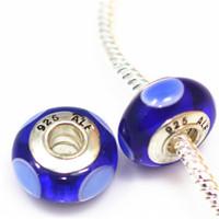 murano lampwork grosse perle achat en gros de-10pcs DIY bijoux accessoires 925 ALE Argent plaqué fil core perles de verre de murano grand trou Charms Perle Pour Bracelets ZHZP001