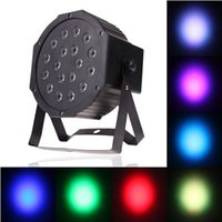 Wholesale Dmx 512 Rgb Led Controller - Big Led stage light 18x3W 54W 85-265V High Power RGB Par Lighting With DMX 512 Master Slave Led Flat DJ Auto-Controller