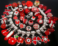 Wholesale 50pcs mixed Red Charms Pendants Beads for Jewelry Making Loose Charms DIY Big Hole Pendant Beads for European Bracelet in Bulk