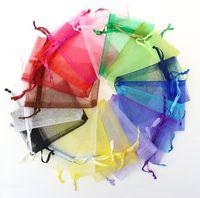 ingrosso borse per feste di compleanno-7x9cm Decorazioni di nozze Baby Shower Organza Borse Gioielli Regali Bomboniere Compleanno caramelle Forniture Confezioni Goodie