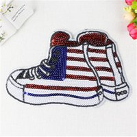 Wholesale Sequin Embroider Fabric - Large Shoes Colorful Sequins Sew On Patches Paillette Embroidered Cloth Applique Badge Fabric Apparel Sewing Crafts DIY