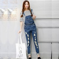 Wholesale Hiphop Women Jeans - Wholesale- Hollow Out Strap Hiphop Denim Overalls for Women Blue Jeans Jumpsuit Full Length Pants 2016 New Style Clothing Combinaison Femme