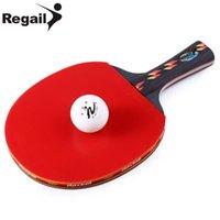 apretones de tenis de mesa al por mayor-Raquetas de tenis de mesa REGAIL Tenis de mesa Raqueta de ping pong Una mano de agarre Grip Bate de paddle Ball 10.24 x 5.91 x 0.98 pulgadas BZ