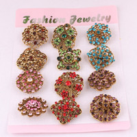 Wholesale Brooch Tips For Collar - 12 Pcs a Lot Antique Gold Plated Brooch Rhinestone Brooches For Female Pins Scarf Clip Collar Tips Hijab Pin