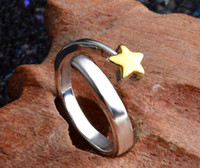2017 chapeamento de vendas quente 925 Sterling Silver Gold Stars Opening ring encantos fashion Beautiful Cute lovely ring 10pcs / lot