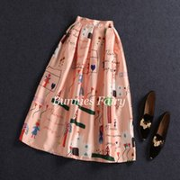 Wholesale Heart Printed Skirt - BunniesFairy 2016 Spring New Female Cute Kids Character Love Heart Cartoon Print High Waist Pleated Midi Skirt Flared Plus Size