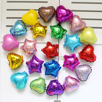 Wholesale Cute Happy Birthday - Wholesale-100pcs lot Mix star   Heart foil balloon 5inch party balloons cute wedding air ballons happy birthday decoration