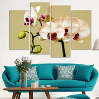Digital printing orchid flower images - 4 Piece Wall Art No Framed Modern Abstract HD Flower Orchid Picture image Oil Painting On Canvas For Home Decor picture