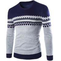 Wholesale Knit Fashion Pullover Pattern Free - Wholesale-Free ship 2016 winter new casual male argyle pattern knitted sweater pullover o-neck fashion keep warm men's clothes M-XXL
