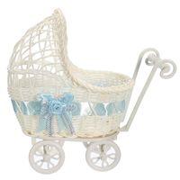 Wholesale Plastic Shower Organizer - Hot Sale Cute Design Wicker Universal Pram Basket Baby Shower Party Gift Present Organizer Decor 25x11x23cm Blue Pink Purple