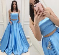 Wholesale green dress two pockets - Light Sky Blue Two Piece Prom Dresses Strapless Crystal Satin Floor Length Ball Gown Prom Dresses With Pocket Zipper Up Back