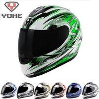 Wholesale Yohe L Size Helmet - Eternal YOHE motorcross motorcycle helmet winter run full face motorbike helmets made of ABS model YH-993 Lightning 2 # 7 colors 5 size