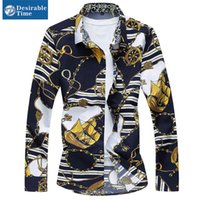 Wholesale Mens Gold Floral Print Shirt Plus Size XL XL Chinese Style Turn Down Collar Navy Blue Casual Shirts Men DT192