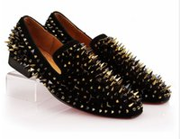 Wholesale handcrafted dress - 2017 vintage Handcrafted Smoking Slipper Shoes Stuts Mixed Spikes Black Suede Loafers Men Wedding Party Dress Flats Genuine Leather