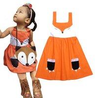 Wholesale Baby Girl One Strap Dress - Girls Cartoon Fox TUTU Dress Baby Sleeveless Orange One Piece Strap Dresses New Cute Girls Fox Tutu Dresses For Toddlers Animal Dress