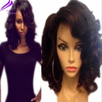 Wholesale Synthetic White Hair Bangs - Fantasy Wavy Bob Short Wig Wholeasle Brazilian Hair Synthetic Lace Front Wigs with bangs Body Wave Wig Heat Resistant Fiber Wig For Women