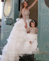 Wholesale Maternity Tops For Winter - 2017 Ivory Sheer Long Sleeves Beading Top Long Prom Dresses For Mother And Daughter Match Outfits Arabic Layered Organza Skirts Long Evening