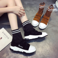 Wholesale Velcro Shoes Heels - European station 2017 autumn new shoes Leisure Wild knitting gross line Boots Velcro Short boots Knight boots