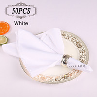 Wholesale 50pc Shipping FREE Napkins Polyester Cloth White Black Wedding Table Napkins in Event Wedding Supplies x50cm Dinner Napkins
