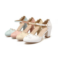 Wholesale Ivory Low Cut Wedding Dresses - Women's Thick Heel Round Toe Patent Leather Falbala Pumps Shoes Girl's Pumps