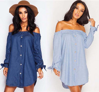 Wholesale Bardot Dress - Denim Off The Shoulder Shirt Dress 2016 Women Sexy Bowknot Button Ruffle Jeans Mini Dress Bardot Tunic Casual Holiday Dress