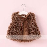Wholesale Wholesale Wool Fur Coats - New Autumn Winter 2017 Children Waistcoat Girls Fur clothing lamb wool Girls Waistcoats kids Warm Vests Girl Coat Children Outwear A1242