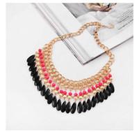 Wholesale Leather Bib Necklaces - Fashion Bohemian Jewelry New Women's Chunky Statement Bib Necklace Chocker Necklace Acrylic Water Drop Tassel Pendant Charm