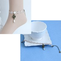 Wholesale Ladies Cute Sandals - Cute Lolita Lace Flower Beads Ankle Anklet Ladies Birthday Party Foot Bracelet Stage Show Barefoot Sandals Halloween Masquerade Gift