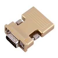 Wholesale golden audio resale online - 60pcs New HDMI Female to VGA Male Converter with Audio Adapter Support Full HD P Output Golden