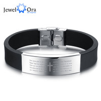 Wholesale Fashion Sporty Silicone - Wholesale-Scripture Pattern Silicone Stainless Steel Bracelets & Bangles Casual & Sporty Fashion Men's Bracelet (JewelOra BA101394)