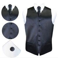 Wholesale Men S Cufflinks Set - Fall-High Quality Mens Plain Satin Wedding Waiscoat , Cravat And Cufflink Sets 7 Color