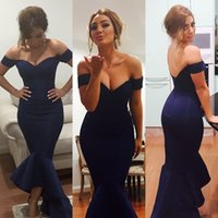 Wholesale hot summer sexy wedding dresses online - Hot Sexy Navy Blue Evening Gowns Off Shoulder Mermaid Bridesmaid Dresses For Wedding Backless Formal Party Prom Dresses Custom Made