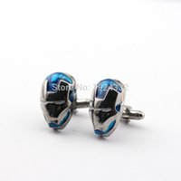 Wholesale Marvel Comic Superhero Iron Man Mask Cufflink for Fans Collection Iron Man cufflinks Male French button Cufflinks