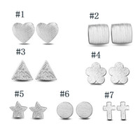 Wholesale triangle shape earrings studs - 925 Sterling Silver Earring S925 Mix Different Shapes Ear Stud Heart Round Star Cross Triangle Square Plum Flower Stud Earrings Jewelry