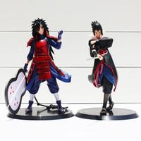 Wholesale Action Figure Madara - 2pcs set Anime Naruto Uchiha Madara Uchiha Sasuke PVC Action Figures Model Toys 17cm Free Shipping