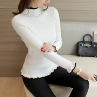 Wholesale Women Turtle Neck Sweaters - 2017091901 new winter half Korean women's sweater slim turtle neck long sleeve Pullover flounce thick backing