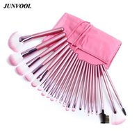 Wholesale 22pcs Makeup Brushes - 22pcs Pink Makeup Brushes Set Professional Maquiagem Tool Cosmetic Make Up Fan Brush Tools Set With Leather Makeup Bag Case