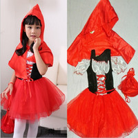 Wholesale Little Girls Fancy Red Dresses - Little Red Riding Hood costume kids princess halloween costumes fancy dress girls carnival costumes stage performance dress fairy tale