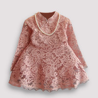 Wholesale Popular Girl Clothing - Popular kids clothing Fashion girls clothes spring autumn long sleeve girls lace dresses christams new year baby dress cotton in stock
