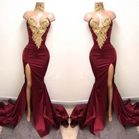 Sexy Burgundy Mermaid High Split Prom Dresses Gold Lace Appliques High Neck Prom Dress African Party Gowns Dress for Party Wear