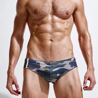 Wholesale Men Swimsuit Trunks - Superbody Brand Camouflage swimming trunks Sexy Men Swimwear Mens Swimming Trunks Summer Men's Swim Brief Patchwork Gay Swimsuits