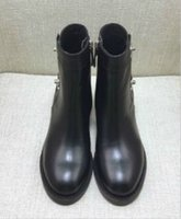 cuero de raíz al por mayor-Botas de cuero de la moda de invierno botas cálidas raíz plana gruesa de fondo C botón cremallera de metal zapatos casuales botas de la motocicleta para las mujeres